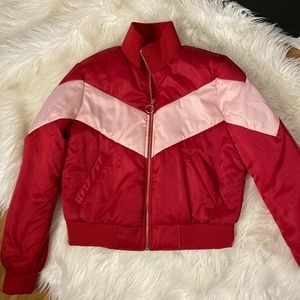 Forever 21 pink & red colorblock padded jacket